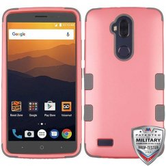 ZTE Blade Max 3 / Max XL Rubberized Pearl Pink/Iron Gray Hybrid Case Military Grade