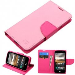 LG K3 Pink Pattern/Hot Pink Liner Wallet with Card Slot