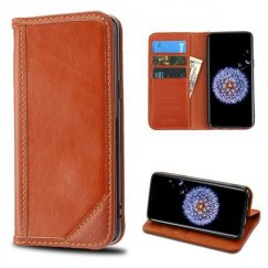 Samsung Galaxy S9 Plus Brown Genuine Leather Wallet