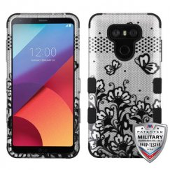 LG G6 Black Lace Flowers (2D Silver)/Black Hybrid Case Military Grade
