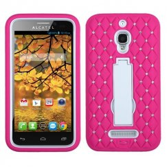 Alcatel One Touch Fierce White/Hot Pink Symbiosis Stand Case with Diamonds