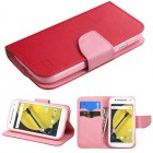 Motorola Moto E 2nd Gen Red Pattern/Pink Liner Wallet with Card Slot