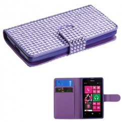 Nokia Lumia 521 Purple Diamonds Book-Style Wallet with Card Slot