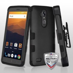 ZTE Blade Max 3 / Max XL Rubberized Black/Black Hybrid Case Military Grade with Black Horizontal Holster