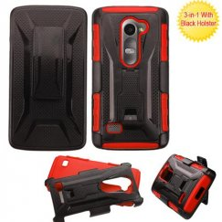 LG Leon H345 Black/Red Advanced Armor Stand Case with Black Holster