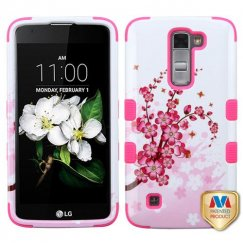 LG K7 Spring Flowers/Electric Pink Hybrid Case