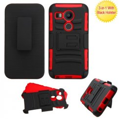 LG Nexus 5X Black/Red Advanced Armor Stand Case with Black Holster