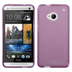 HTC One M7 Transparent Purple Candy Skin Cover - Rubberized