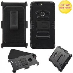 ZTE Blade Z Max / Sequoia Z982 Black/Black Advanced Armor Stand Case with Black Holster