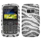 Kyocera Brio Black Zebra Skin Diamante Case