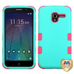 Alcatel Stellar / Tru 5065 Rubberized Teal Green/Electric Pink Hybrid Case