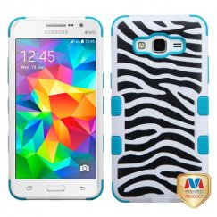 Samsung Galaxy Grand Prime Zebra Skin/Tropical Teal Hybrid Case