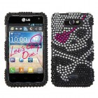 LG Motion 4G Skull Diamante Protector Cover