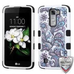 LG K7 Purple European Flowers/Black Hybrid Case