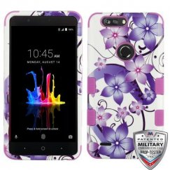 ZTE Blade Z Max / Sequoia Z982 Purple Hibiscus Flower Romance/Electric Purple Hybrid Case