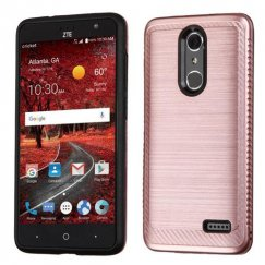 ZTE Grand X 4 Rose Gold/Black Brushed Hybrid Case with Carbon Fiber Accent