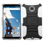 Motorola Nexus 6 Black/Solid White Advanced Armor Stand Case