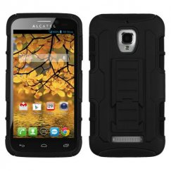Alcatel One Touch Fierce Black/Black Car Armor Stand Case - Rubberized