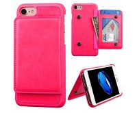 Apple iPhone 7 Hot Pink Flip Wallet Executive Protector Cover(with Snap Fasteners)