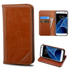 Samsung Galaxy S7 Brown Genuine Leather Wallet