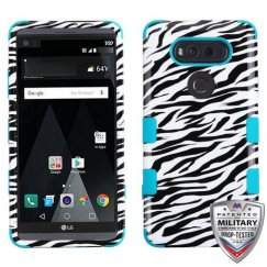LG V20 Zebra Skin/Tropical Teal Hybrid Case