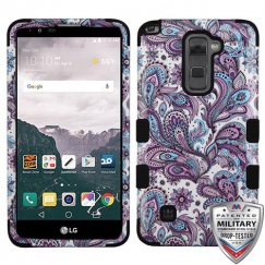 LG LG G Stylo 2 Plus Purple European Flowers/Black Hybrid Case