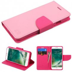 Apple iPhone 8 Pink Pattern/Hot Pink Liner Wallet with Card Slot