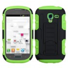 Samsung Galaxy Exhibit Black/Electric Green Car Armor Stand Protector Cover (Rubberized)