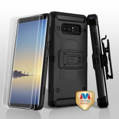 Samsung Galaxy Note 8 Black/Black 3-in-1 Kinetic Hybrid Case Combo with Black Holster and Twin Screen Protectors