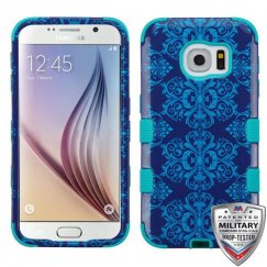 Samsung Galaxy S6 Purple/Blue Damask/Tropical Teal Hybrid Phone Case - Military Grade