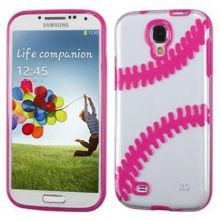 Samsung Galaxy S4 Transparent Clear/Solid Hot Pink(Baseball) Gummy Cover