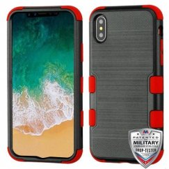 Apple iPhone X Black Brushed/Red Hybrid Case Military Grade