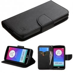 LG Leon H345 Black Pattern/Black Liner wallet with Card Slot