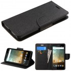 ZTE Avid Plus / Maven 2 Black Pattern/Black Liner wallet with Card Slot