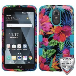 LG G Stylo 3 Electric Hibiscus/Tropical Teal Hybrid Case Military Grade