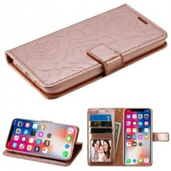 Apple iPhone X Rose Gold Rose Embossed Wallet