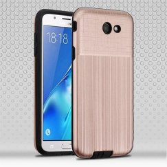 Samsung Galaxy J7 Rose Gold Woven & Brushed/Black Hybrid Protector Cover