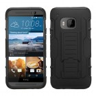 HTC One M9 Black/Black Car Armor Stand Case - Rubberized