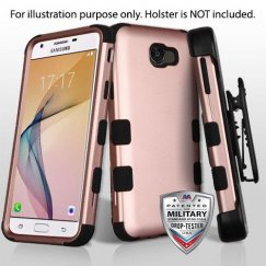 Samsung Galaxy J5 Prime Rose Gold/Black Hybrid Case Military Grade with Black Horizontal Holster