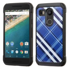 LG Nexus 5X Blue Diagonal Plaid/Black Astronoot Case