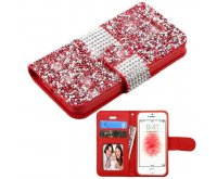 Apple iPhone 5/5s Red Mini Crystals with Silver Belt Wallet