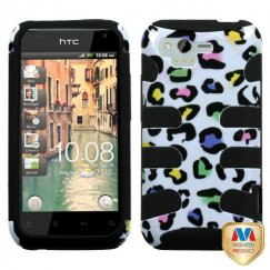 HTC Rhyme Colorful Leopard/Black Fishbone Case