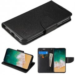 Apple iPhone X Black Pattern/Black Liner wallet with Card Slot