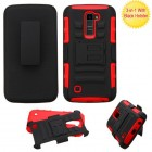 LG K10 Black/Red Advanced Armor Stand Protector Cover (With Black Holster)
