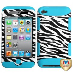 Apple iPod Touch (4th Generation) Zebra Skin/Tropical Teal Hybrid Case