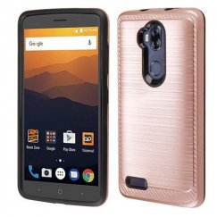 ZTE Blade Max 3 / Max XL Rose Gold/Black Brushed Hybrid Case with Carbon Fiber Accent