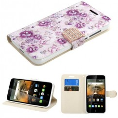 Alcatel One Touch Conquest Fresh Purple Flowers Diamante Wallet with Diamante Belt