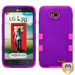 LG Optimus L70 Rubberized Grape/Electric Pink Hybrid Case