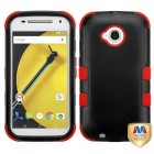 Motorola Moto E 2nd Gen Natural Black/Red Hybrid Phone Protector Cover