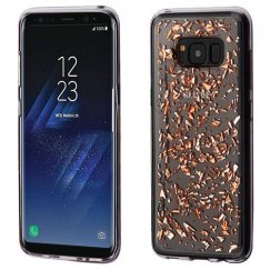 Samsung Galaxy S8 Rose Gold Flakes (T-Clear) Krystal Gel Series Candy Skin Cover